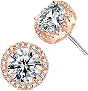 18K Rose Gold GP 925 Sterling Silver Posts Crystal Tree of Life Earring Studs