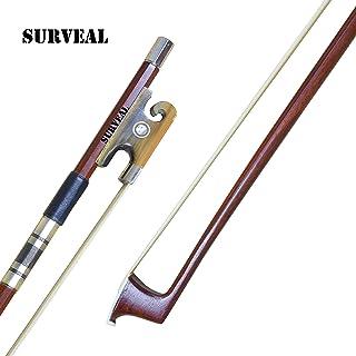 SURVEAL - Arco de violín de madera de Brasil tallado con cuerno de buey y cola de caballo de Mongolia y mejor arco de violino elástico tamaño 4/4