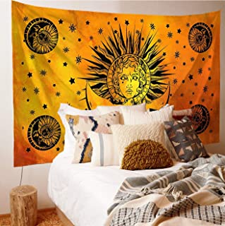 Orange Tie Dye Sun And Moon Tapestry Wall Hanging,Hippie Psychedelic Tapestry,Indie Aesthetic Wall Decor For Dorm Room In College Girls(55x85)