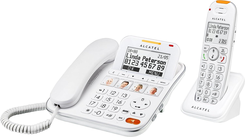 Alcatel XL 650 - Teléfono (Teléfono DECT, Altavoz, 100 entradas, Identificador de Llamadas, Blanco)