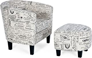 Relax in Comfort, Vintage Style Accent Chair with Curved Back & French Print with Ottoman Modern Armrest, Beige