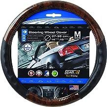 SUMEX Wood Grain Steering Wheel Cover Black fits all 14.5