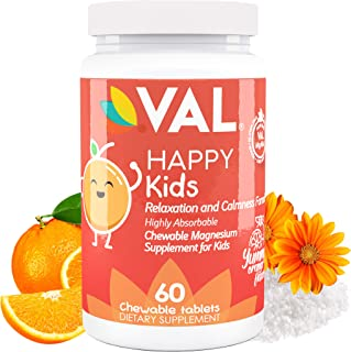 VAL Chewable Magnesium Glycinate,Citrate, Taurate & B6, D3, C | Relaxation and Calmness Formula for Kids | | No Laxative E...