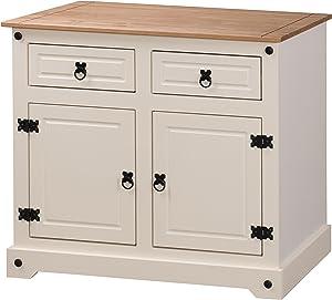 Mercers Furniture Corona–Buffet a 2Ante e 2cassetti, Legno, Colore: Panna/Pino Antico, Piccolo