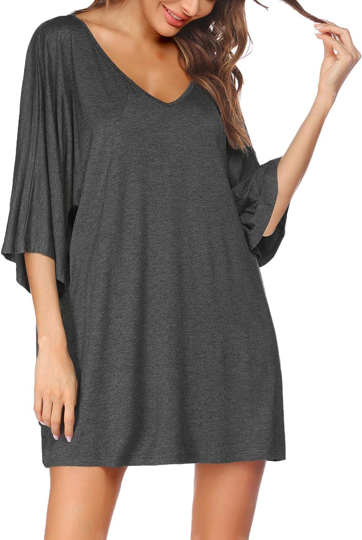 PEATAO Sleepwear for Women Pajamas Plus Nightgowns V-Neck Night Shirt Soft Sleep Shirt Casual Sleep Dress Womens Loungewear