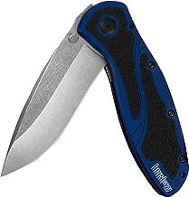 "Kershaw Blur, Navy Blue Stonewashed (1670NBSW) Pocket Knife, 3.4"" Stonewashed 14C28N Steel Blade, Anodized Aluminum Handle with Black Trac-Tec Inserts, SpeedSafe Open, Reversible Pocketclip; 3.9 OZ"
