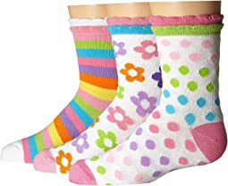 Jefferies Socks - Daisy/Stripe/Dots Crew 3-Pack (Infant/Toddler/Little Kid/Big Kid)