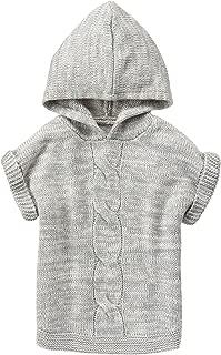 Girls' Little Grey Hooded Poncho