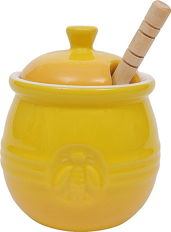 Creative Co Op DA4177 Pot With Lid Wood Honey Dipper Yellow