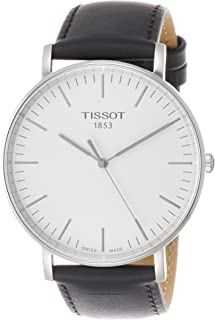 Everytime T109.610.16.031.00 Silver/Black Leather Analog Quartz Men's Watch