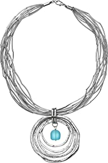 Silver Goddess Sea Glass Pendant Necklace, Handmade Silvertone Jewelry with Turquoise Sea Glass Bead