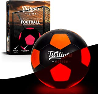 Light Up Soccer Ball Size 5-for Nighttime Play. Impact Activated – has Two Bright LED Lights Inside with Batteries & Pump ...