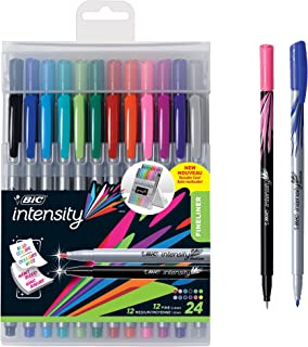 BIC Intensity Fineliner Medium Fine Point Pens, 0.4-1.0mm – Set of 24 Markers, Reusable Pack – Fashion Colours, No Bleed f...