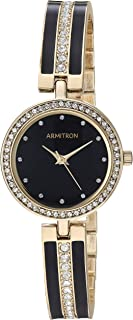 Armitron Women's 75/5608BKGP Swarovski Crystal Accented Gold-Tone and Black Bangle Watch