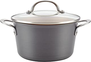 Ayesha Curry 80262 Home Collection Hard Anodized Nonstick Sauce Pan/Saucepan with Lid, 4.5 Quart, Gray