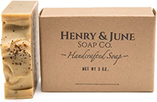 Orange & Coffee Handmade Bar Soap, 100% Natural & Organic Ingredients, With Organic Cocoa Butter & Scented with Essential Oils. Skincare Handmade in USA. By Henry & June Soap Co. 4 oz