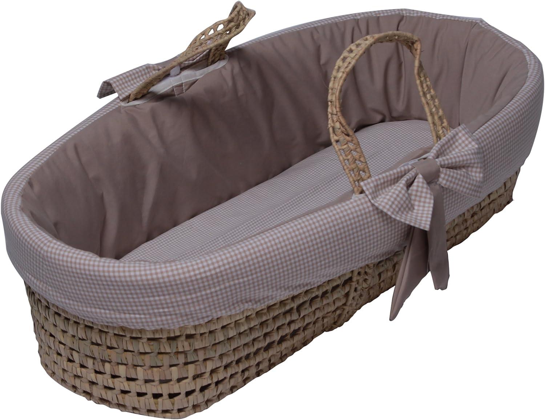 Baby Doll Bedding Gingham Moses Basket, Khaki