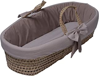 Baby Doll Bedding Gingham Moses Basket, Khaki