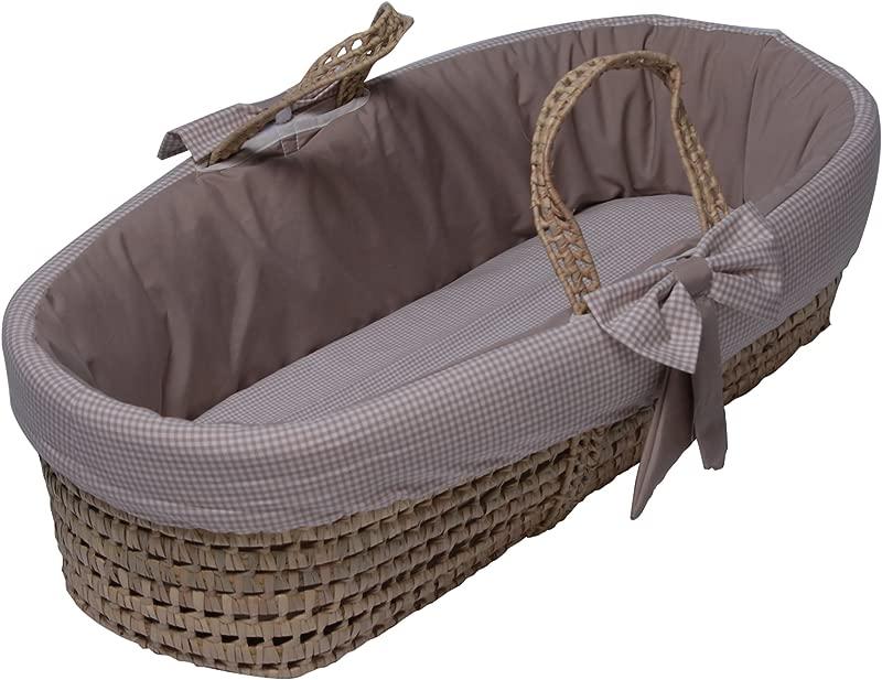Baby Doll Bedding Gingham Moses Basket Khaki