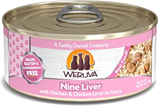 Weruva Classic Cat Food, Nine Liver with Chicken Breast & Chicken Liver in Gravy, 5.5Oz Can (Pack of 24)