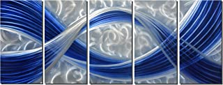 Metal Wall Sculpture with Dark Blue Line Silver Background, Aluminum Wall Art, Unique Metal Artwork, Abstract Metal Wall Art for Modern and Contemporary Decor, Indoor and Outdoor, 5-Panels 64