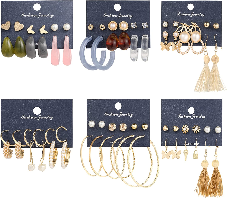 36 Pairs Gold Pearl Hoop Earrings for Women Girls, Bohemian Fashion Acrylic Hoop Earrings Set Jewelry for Birthday/Christmas/Friendship Gifts