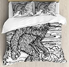 Ambesonne Bigfoot Duvet Cover Set, Mythical Creature Snowman on The Hills Leaving Footprints Behind Him, Decorative 3 Piece Bedding Set with 2 Pillow Shams, Queen Size, Black Print