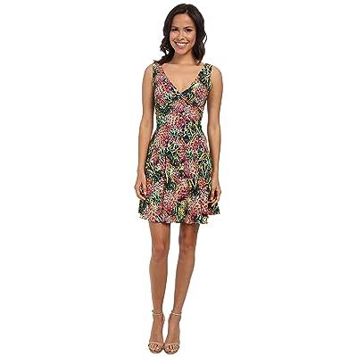 Nicole Miller Pina Crepe V-Neck Tank Dress (Multi) Women