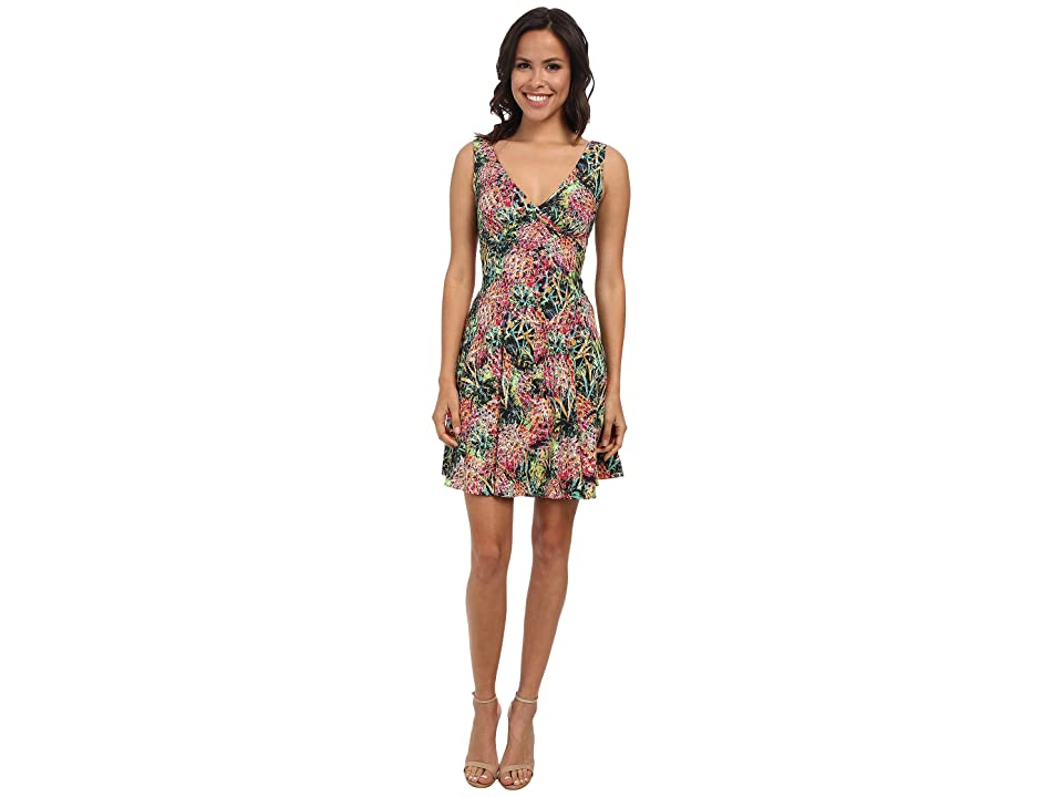 Nicole Miller Pina Crepe V-Neck Tank Dress (Multi) Women