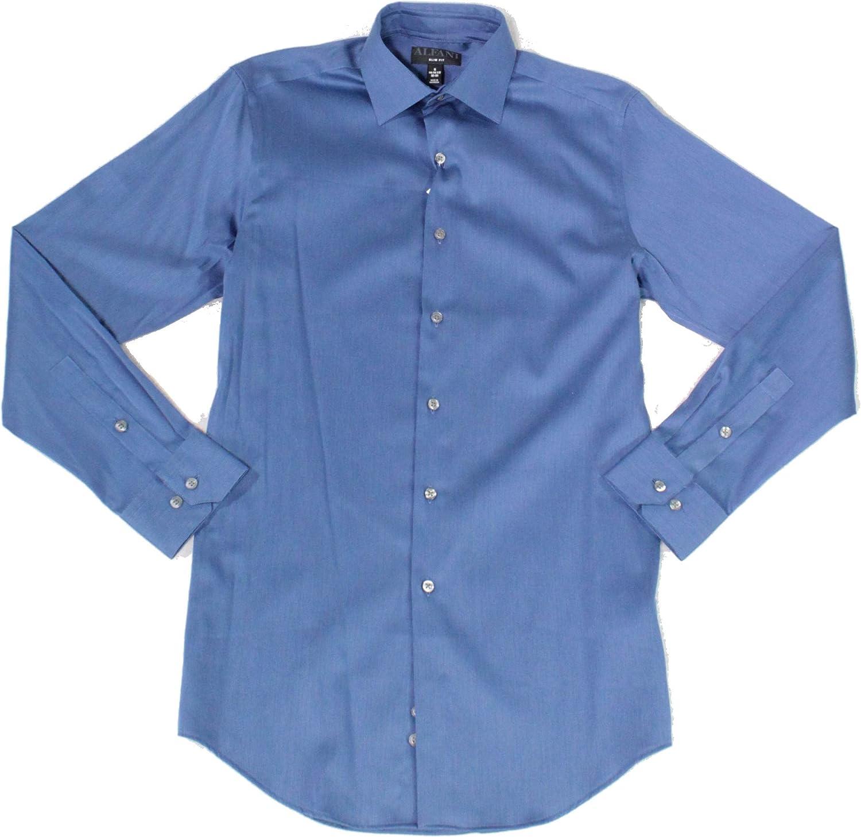 Alfani Men's Slim Fit Bedford Cord Dress Shirt, Dark Indigo