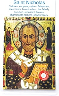 Relic Card 3rd Class Saint Nicholas Nikolaos Myra Nicholas Bari Patron of Children, Coopers, Sailors, Fishermen, Merchants, Brvoadcasters, The falsely Accused, Brewers, Pharmacists Nicolasv