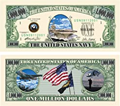 US Navy Million Dollar Novelty Bill Collectible in Collector Grade Currency Holder. Naval Gift