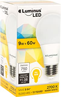 Luminus PLYC1352A A19 ECO-9W (60W) 750 Lumens Warm White 2700K Non-Dimmable LED Light Bulb-12 Pack