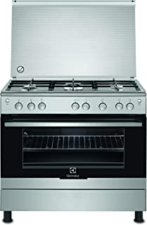 Electrolux Cooker, 90x60CM, Full Gas, Cast Iron Pan Support, Auto Ignition, Grill, Full Safety, Rotisserie, Steel, EKG9000A4X