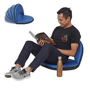 ECR4Kids Floor Chair with Adjustable Back Support - Portable Flexible Seating with 6 Backrest Positions - Indoor or Outdoor Classroom, Gaming, Meditation, Camping, Stadium Seat by ECR4Kids (Blue)