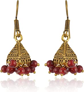 Subharpit Purple Brass Metal Indian Traditional Ethnic Jhumka Jhumki Earrings for Women /& Girls