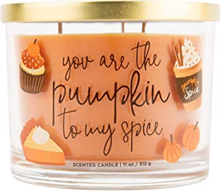 Aromascape Pumpkin to My Spice, 3-Wick Scented Candle, Orange