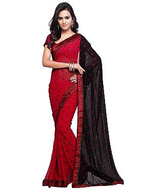 Sourbh Women's Polka Dots Printed Half Half Bollywood Sari with Blouse Piece