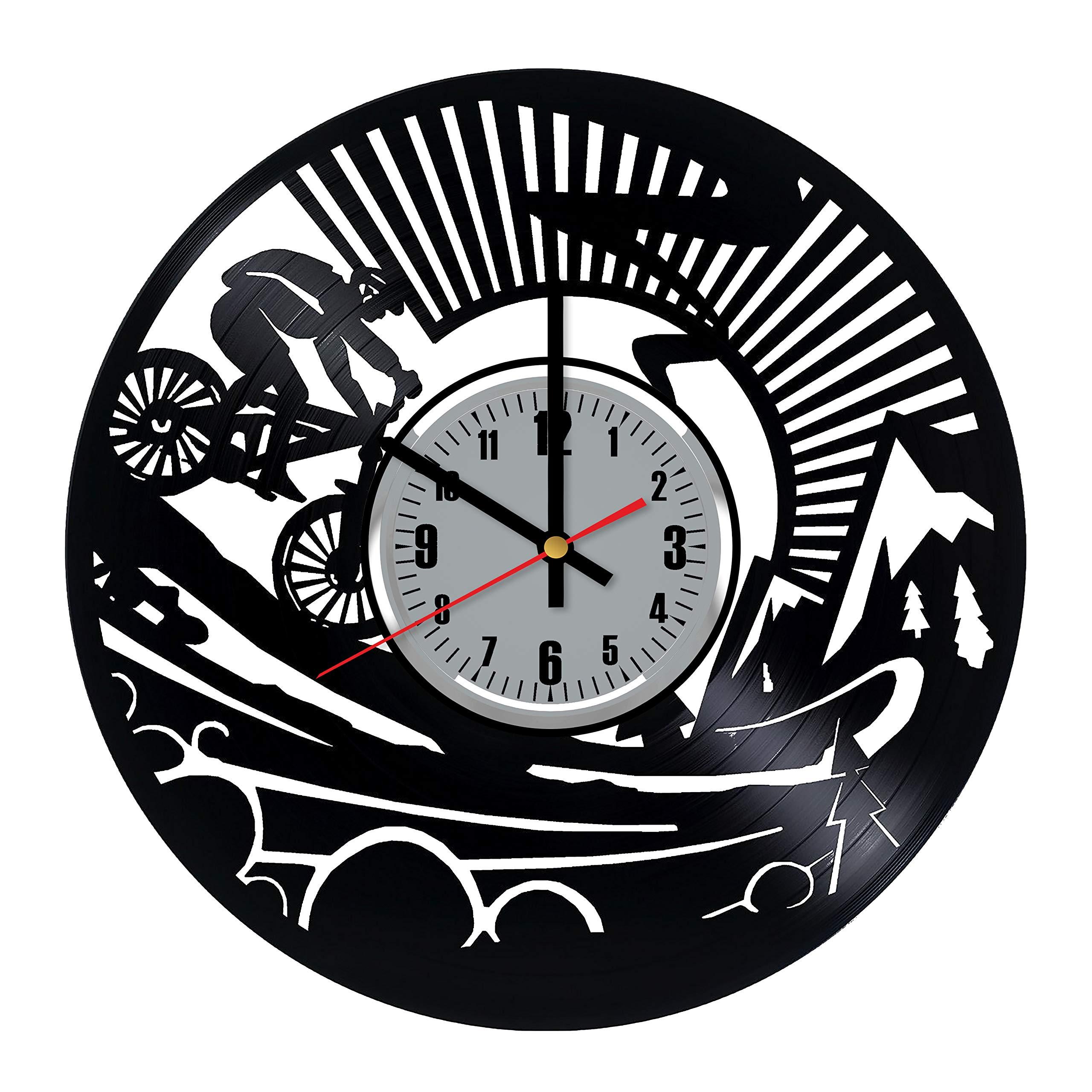 Art Patelnia Reloj de Pared de Vinilo para Bicicleta, diseño de Bicicleta, Hecho a Mano, Ideal como Regalo para Cualquier ocasión: Amazon.es: Hogar