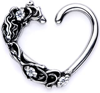 Body Candy Body Piercing Jewelry 316L Stainless Steel 16G Left or Right Closure Daith Floral Heart Tragus