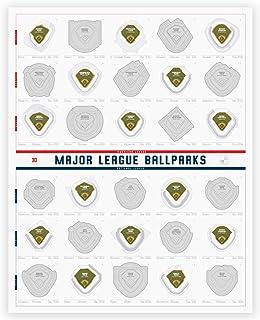 "Enno Vatti Major League Ballparks Scratch Off Poster, Baseball Stadium Wall Chart - 16"" x 20"""