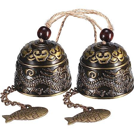 Feng Shui Campane Campana Campanellini Rame Puro Fengshui Windchime Wind And Bell Bronzo Big 5 Bell Campane in Metallo Campanelli Eolici Decorazione da Appendere per Esterni Regalo Artigianale