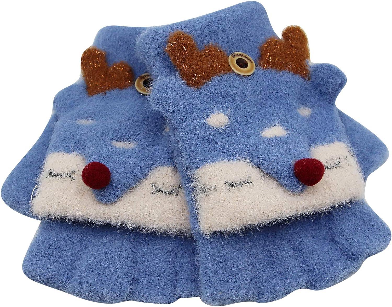 RARITYUS Unisex Cute Animal Fox Gloves Convertible Flip Top Warm Soft Winter Fingerless Mittens for Girls Boys 2 to 6 Years
