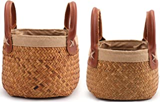 Yesland 2 Pack Woven Cylindrical Basket with Leather Handle, Natural Seagrass Storage/Tote Belly Organizer for Plant Pot, ...
