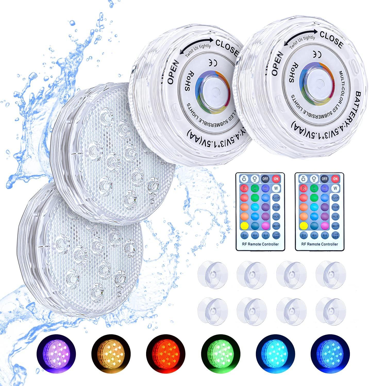 Bluefire Luces Sumergibles, 4PCS Piscina Luz LED Impermeable, Actualizado Luces para Piscinas y RF Remoto RGB 16 Colores para Fiesta a Distancia Jardín/Acuario/Bañera/Piscina/Boda
