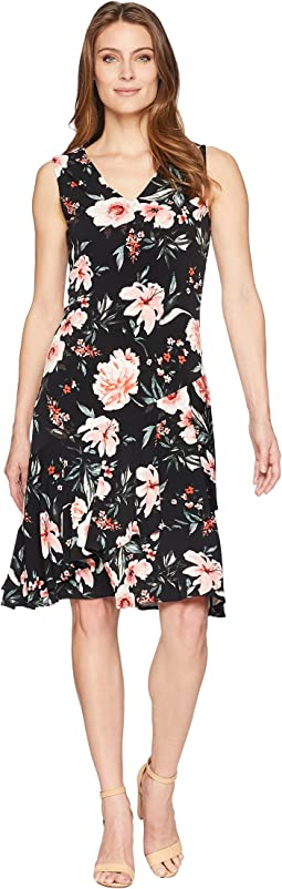 V-Neckline Printed Flared Hem A-Line Midi Dress
