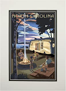 North Carolina - Retro Camper and Lake (11x14 Double-Matted Art Print, Wall Decor Ready to Frame)