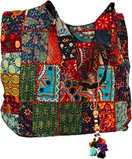 Large Shoulder Bag Red Quilted Embroidered Market Shop School Laptop Diaper Picnic Comfortable Roomy