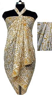 Hand Block Print Beach Wrap Cover-Up Sarong 100% Cotton Dress