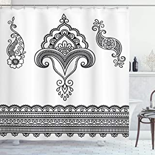 Ambesonne Folk Shower Curtain, Black and White Eastern Motifs Monochrome Ornamental Floral Pattern Doodle Image, Cloth Fabric Bathroom Decor Set with Hooks, 70